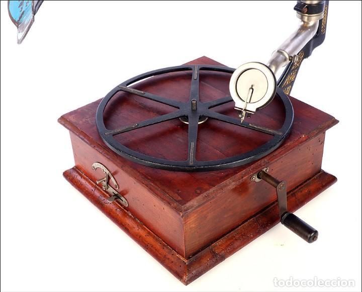 Gramófonos y gramolas: Raro Gramófono de Trompeta Carette. Restaurado. Alemania, Circa 1915 - Foto 7 - 185697127