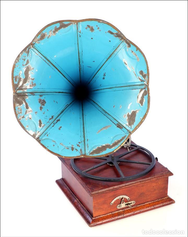 Gramófonos y gramolas: Raro Gramófono de Trompeta Carette. Restaurado. Alemania, Circa 1915 - Foto 13 - 185697127