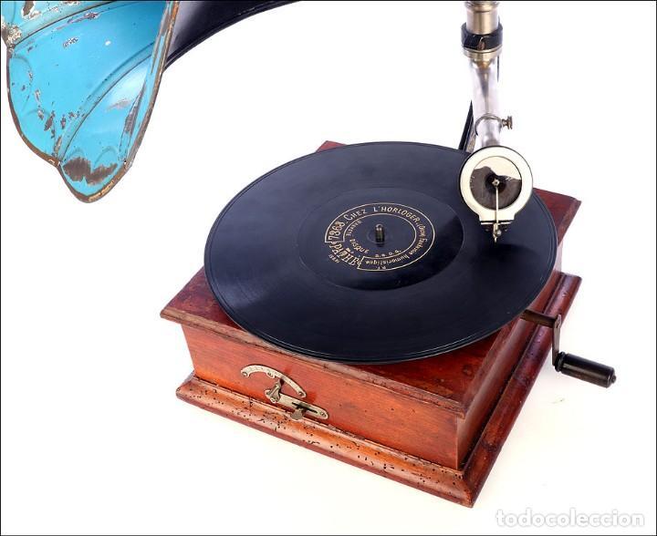Gramófonos y gramolas: Raro Gramófono de Trompeta Carette. Restaurado. Alemania, Circa 1915 - Foto 14 - 185697127