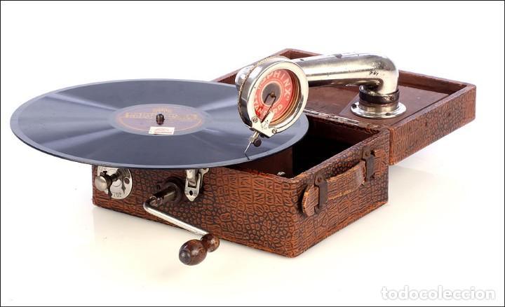 Gramófonos y gramolas: Antiguo Gramófono de Viaje Sphinx. Inglaterra, 1930 - Foto 12 - 185697567