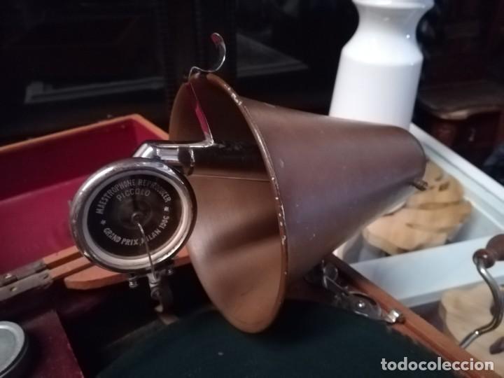 Gramófonos y gramolas: GRAMÓFONO DE MALETA CON BOCINA LA VOZ DE SU AMO. C. COPPEL.MUY RARO.FUNCIONANDO. - Foto 12 - 190160241