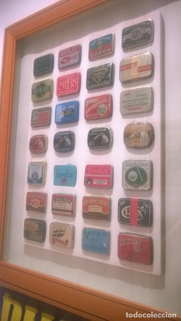 Gramófonos y gramolas: CUADRO -Colección con 28 cajas de agujas de gramofonos,gramolas,etc...Enmarcado - Foto 2 - 190617402
