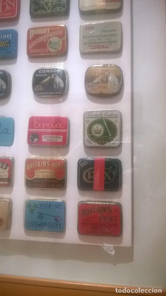 Gramófonos y gramolas: CUADRO -Colección con 28 cajas de agujas de gramofonos,gramolas,etc...Enmarcado - Foto 3 - 190617402
