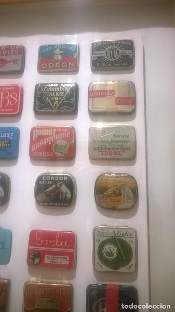 Gramófonos y gramolas: CUADRO -Colección con 28 cajas de agujas de gramofonos,gramolas,etc...Enmarcado - Foto 4 - 190617402