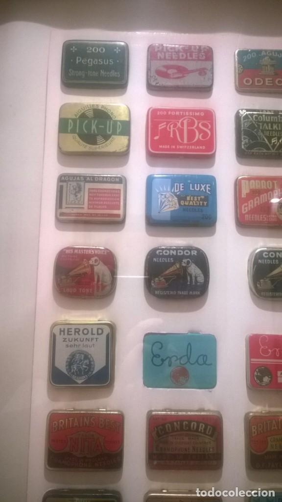 Gramófonos y gramolas: CUADRO -Colección con 28 cajas de agujas de gramofonos,gramolas,etc...Enmarcado - Foto 5 - 190617402