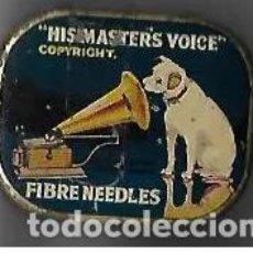 Gramófonos y gramolas: CAJA DE AGUJAS DE GRAMOFOGO CON AGUJAS **HISMASTERS VOICE **. Lote 194401513