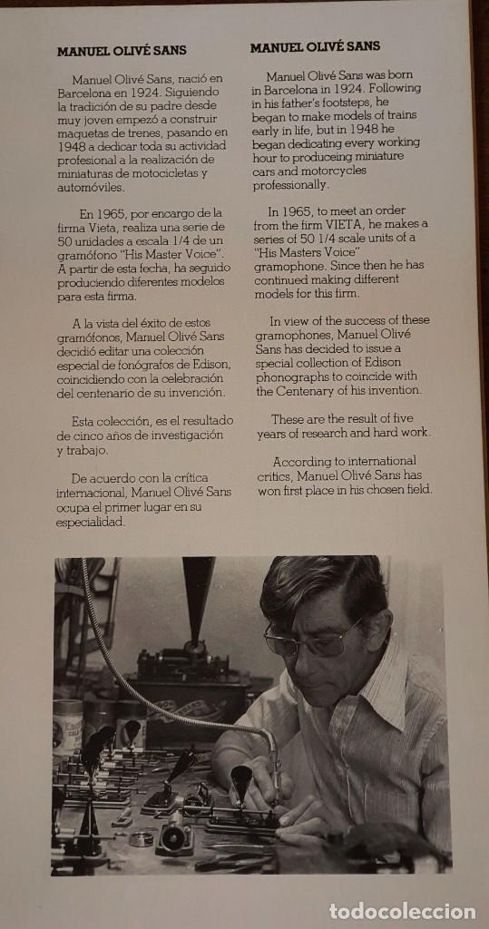 Gramófonos y gramolas: 5 FONÓGRAFOS - ESCALA 1/4 - MANUEL OLIVÉ SANS - CENTENARIO PHONÓGRAFO - NUMERADOS Y CERTIFICADOS. - Foto 14 - 200142547