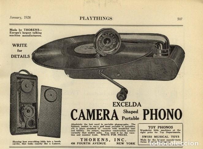 Gramófonos y gramolas: GRAMÓFONO DE VIAJE THORENS EXCELDA Y AGUJAS COLUMBIA. AÑOS 30 - Foto 10 - 199666976