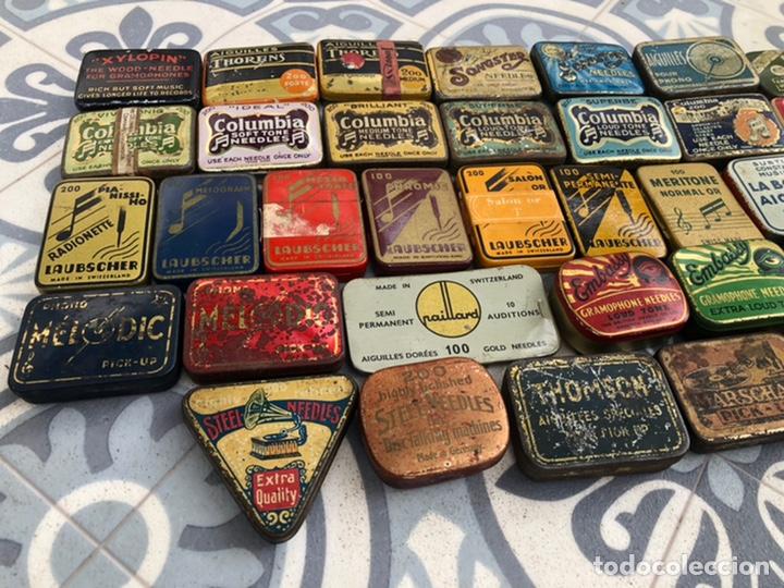 Gramófonos y gramolas: Lote 37 cajas latas de aguja gramófono. Más poniendo USMO - Foto 20 - 220627996