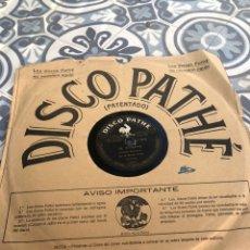 Gramófonos y gramolas: DISCO PATHE DE VERBENA/PICA-PICA GRAMÓFONO RADIO GRAMÓLA USMO. Lote 224076141