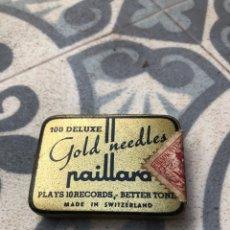 Gramófonos y gramolas: CAJA LATA CON 30 AGUJAS PAILLARD GOLD. MÁS PONIENDO USMO. GRAMÓLA GRAMÓFONO. Lote 269850148