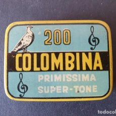Gramophones: ANTIGUA CAJA O CAJITA METALICA DE AGUJAS PARA GRAMOFONO COLOMBINA VACIA - RARA. Lote 286983733
