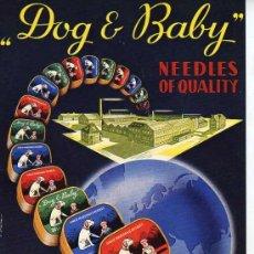 Radios antiguas: MINI CARTEL PUBLICITARIO DOG AND BABY MARCHALL -NEEDLES OF QUALITY - AGUJAS DE GRAMOFONO. Lote 25529841