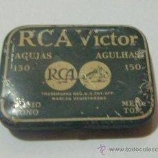 Radios antiguas: LATA (VACÍA) DE PÚAS PARA VICTROLA RCA VICTOR - EXCELENTE CONSERVACIÓN. Lote 31993936