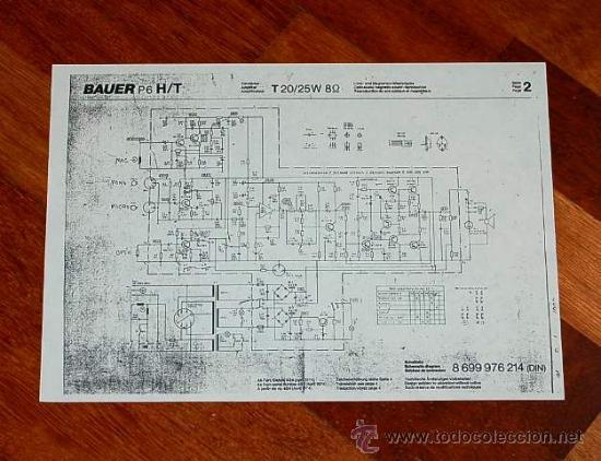ESQUEMA DEL AMPLIFICADOR DEL PROYECTOR DE CINE BAUER P6 DE 16 M/M (Radios, Gramófonos, Grabadoras y Otros - Transistores, Pick-ups y Otros)