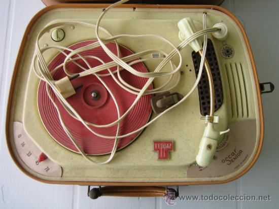Radios antiguas: Tocadiscos de maleta TEPPAZ Oscar Senior. Made France años 50 o 60. Funciona - Foto 5 - 54317938