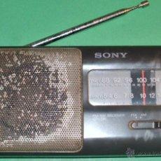 Radios antiguas: ANTIGUO TRANSISTOR SONY DE LOS AÑOS 70 FUNCIONANDO PERFECTAMENTE FM Y AM Y SALIDA AURICULARES. Lote 45211529