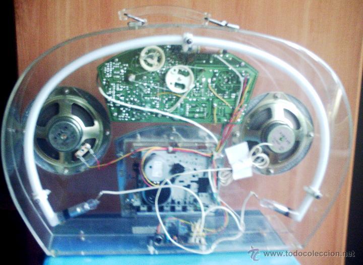 Radios antiguas: Radio caset trasparente con luz de neón - Foto 4 - 46530426
