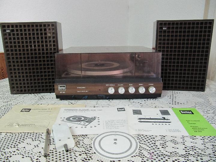 PLATO TOCADISCOS BETTOR EF-143. COMPLETO, CON ALTAVOCES, MANUAL DE INSTRUCCIONES... (Radios, Gramófonos, Grabadoras y Otros - Transistores, Pick-ups y Otros)
