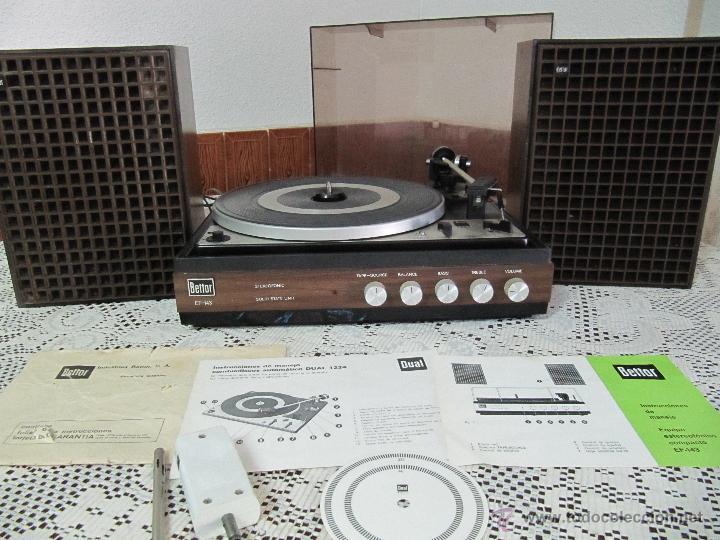 Radios antiguas: PLATO TOCADISCOS BETTOR EF-143. COMPLETO, CON ALTAVOCES, MANUAL DE INSTRUCCIONES... - Foto 2 - 51451178