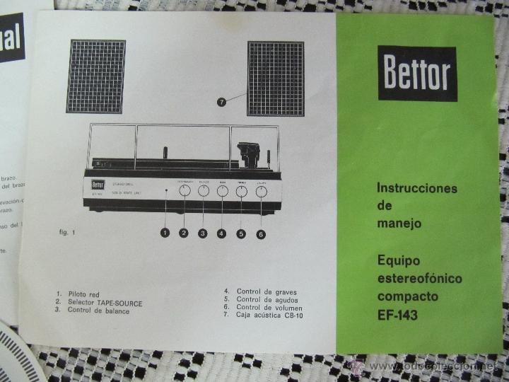 Radios antiguas: PLATO TOCADISCOS BETTOR EF-143. COMPLETO, CON ALTAVOCES, MANUAL DE INSTRUCCIONES... - Foto 4 - 51451178