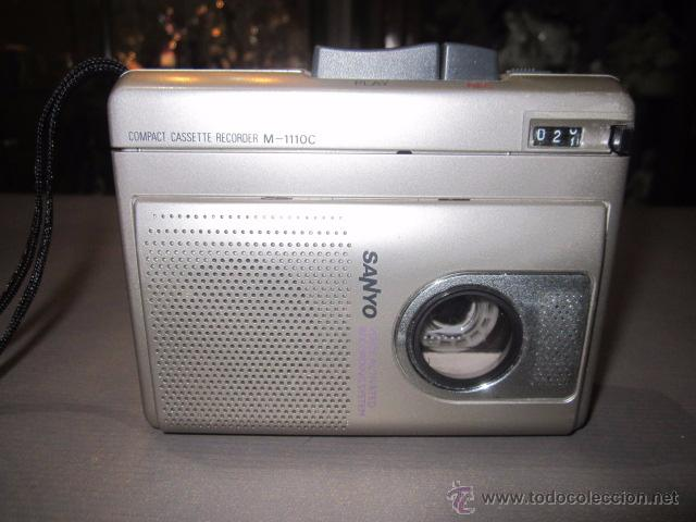 CASSETTE GRABADOR SANYO M-110, FUNCIONANDO. (Radios, Gramófonos, Grabadoras y Otros - Transistores, Pick-ups y Otros)
