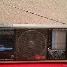 Radios antiguas: RADIO VINTAGE 9 BAND PHILIPS D 7456 D7456 MULTIBAND STEREO CASSETTE FUNCIONANDO. Lote 55171785