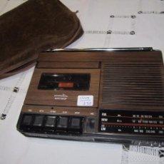 Radios antiguas: RADIO CASSETTE AURITONE, CON FUNDA DE TELA. 20,5 X 15 X 3,5 CMS. ALTURA.. Lote 57101067