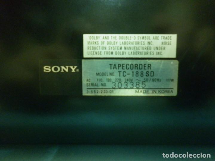 Radios antiguas: SONNY STEREO CASSETTE DECK TC- 188 SD - Foto 3 - 80745694