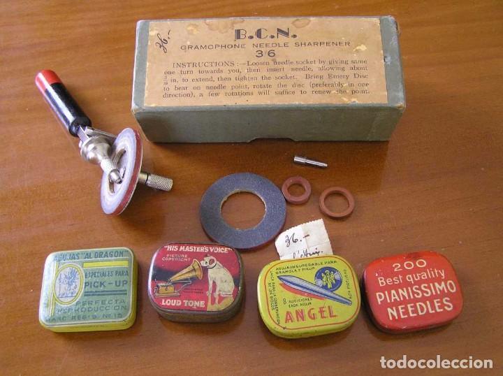 Radios antiguas: ANTIGUO AFILADOR DE AGUJAS DE GRAMOFONO GRAMOLA Y CUATRO CAJA CON AGUJAS GRAMOPHONE NEEDLE SHARPENER - Foto 11 - 87421028