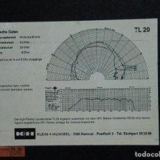 Radios antiguas: ALTAVOCES KLEIN + HUMMEL K+H TL 20 - 40 WATTS 6 OHMS - VINTAGE. Lote 89108460