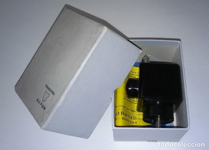 ÚNICO ANTIGUO TRANSISTOR SUPER CARGADOR AUDÍFONO (BAQUELITA), CAJA ORIGINAL INSTRUCCIONES, 1950-1960 (Radios, Gramófonos, Grabadoras y Otros - Transistores, Pick-ups y Otros)