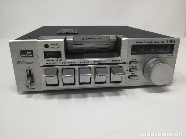 Radios antiguas: Aiwa L22 stereo cassette deck. Muy raro. - Foto 3 - 122320247