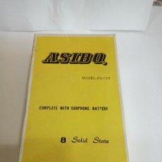 Radios antiguas: TRANSISTOR ASIBO MOD.AS-137 EN SU CAJA ORIGINAL Y TODOS LOS ACCESORIOS AÑOS 60. Lote 124508967