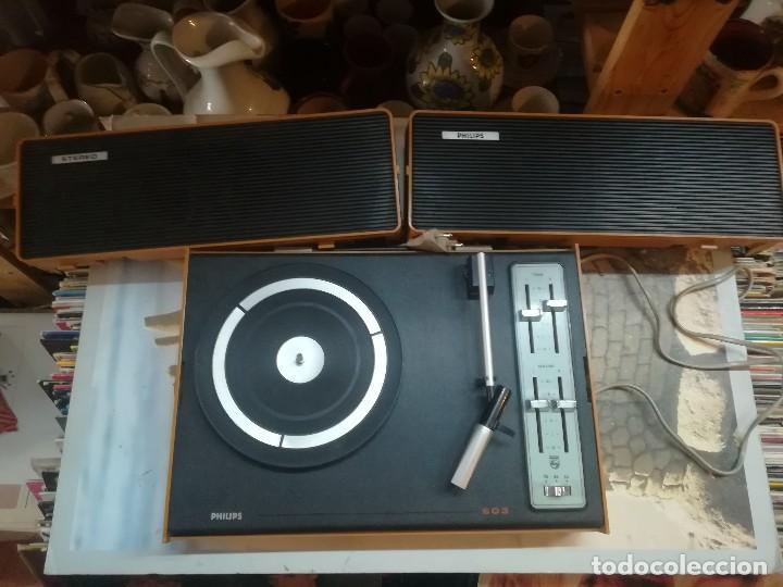 TOCADISCOS PHILIPS 603 ESTÉREO FUNCIONANDO. (Radios, Gramófonos, Grabadoras y Otros - Transistores, Pick-ups y Otros)