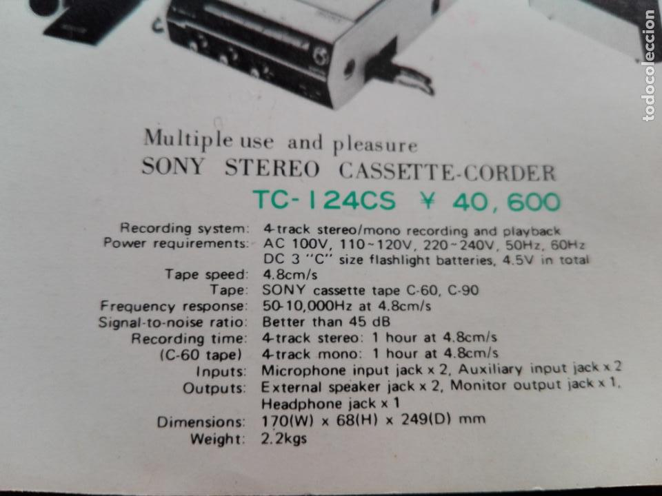 Radios antiguas: cassette stereo-sony tc- 124cs-antiguo.c.1970-completo-maleta-altavoces-mínimo uso-ver fotos - Foto 29 - 104043851