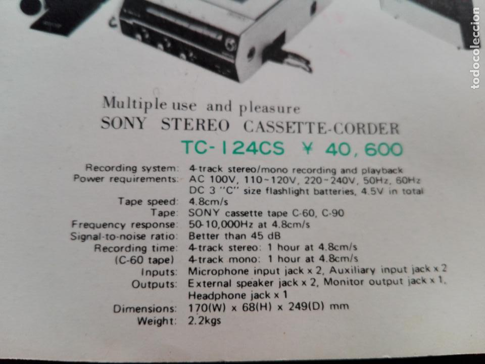 Radios antiguas: cassette stereo-sony tc- 124cs-antiguo.c.1970-completo-maleta-altavoces-mínimo uso-ver fotos - Foto 30 - 104043851
