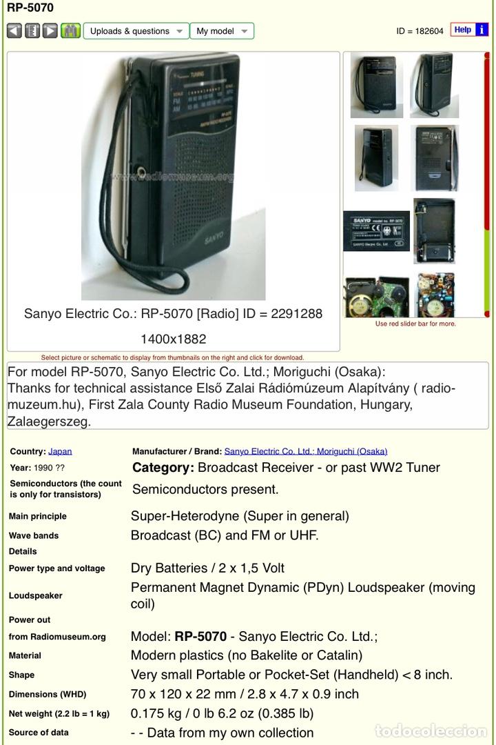 Radios antiguas: Radio transistor SANYO RP-5070, funcionando - ver vídeo - Foto 10 - 161104542