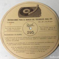 Radios antiguas: INSTRUCCIONES MANEJO DEL TOCADISCOS ORIGINAL ANTIGUO RV150. Lote 168682100