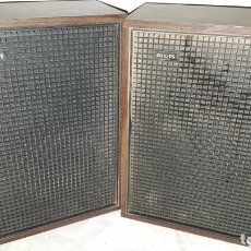 Radios antiguas: PAR ALTAVOCES MADERA PHILIPS VINTAGE. Lote 173196909