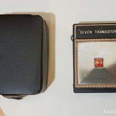 Radios antiguas: PEQUEÑA RADIO SEVEN TRANSISTOR ORION, ALTAVOZ, MADE IN JAPAN, CON FUNDA, AÑOS 60. Lote 183314117