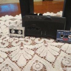 Radios antiguas: SANYO GRABADORA MICROCASSETTE RECORDER + 3 MINI CINTA PEPETO ELECTRONICA. Lote 183616516