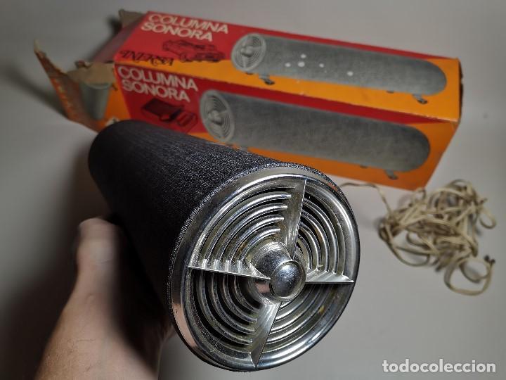 Radios antiguas: Altavoces auxiliares- Columna sonora INERSA - Años 60 -En su caja original-automovil..MODELO CROMADO - Foto 3 - 184218987
