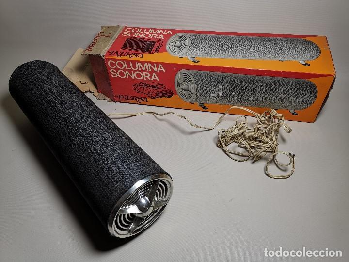 Radios antiguas: Altavoces auxiliares- Columna sonora INERSA - Años 60 -En su caja original-automovil..MODELO CROMADO - Foto 5 - 184218987