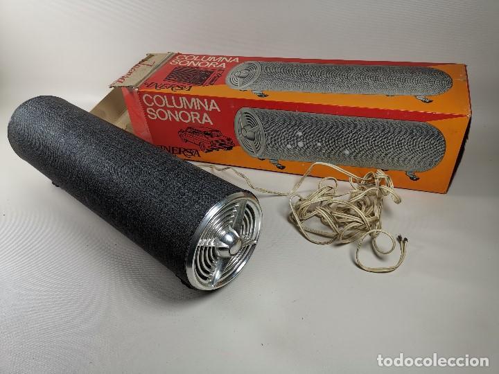 Radios antiguas: Altavoces auxiliares- Columna sonora INERSA - Años 60 -En su caja original-automovil..MODELO CROMADO - Foto 7 - 184218987