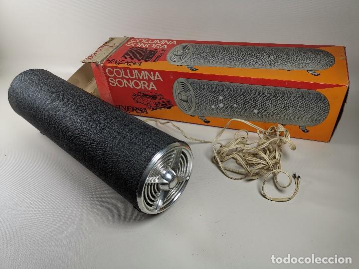 Radios antiguas: Altavoces auxiliares- Columna sonora INERSA - Años 60 -En su caja original-automovil..MODELO CROMADO - Foto 8 - 184218987