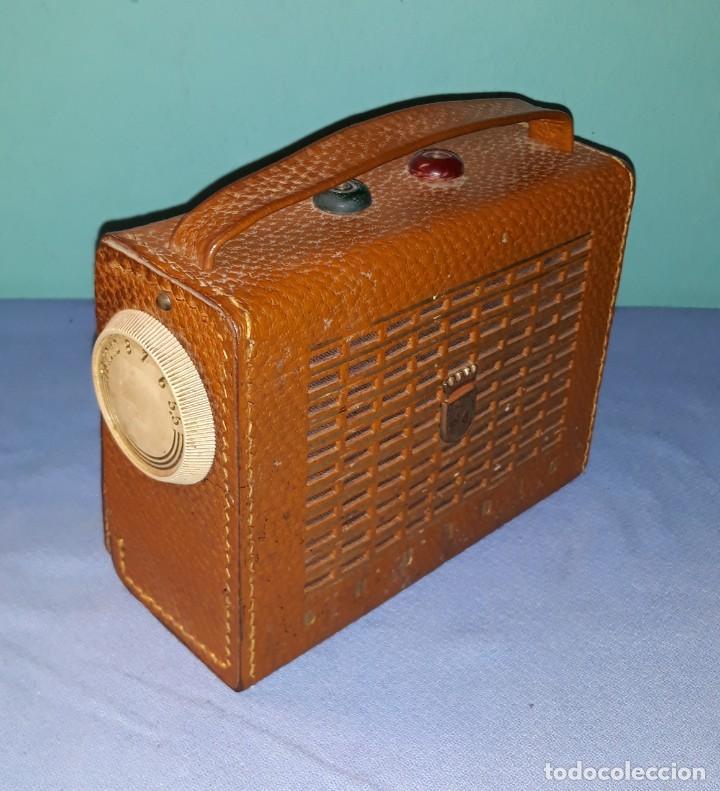 ANTIGUO RADIO TRANSISTOR GRUNDING FUNDA DE CUERO AÑOS 50 (Radios, Gramófonos, Grabadoras y Otros - Transistores, Pick-ups y Otros)