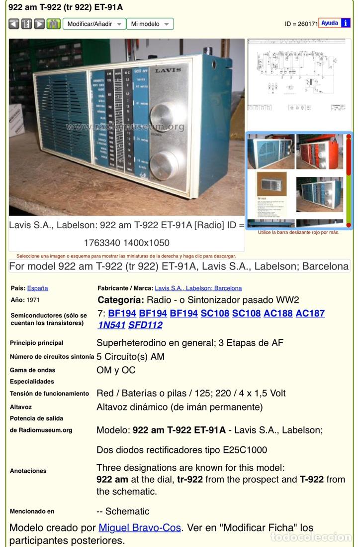 Radios antiguas: Radio LAVIS 922, ,funciona bien, Ver vídeo - Foto 16 - 194359865