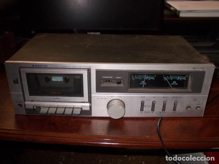 SANYO STEREO CASSETTE DECK MODEL RD3510M, MADE IN SPAIN, FUNCIONANDO PERO CON DEFECTOS (Radios, Gramófonos, Grabadoras y Otros - Transistores, Pick-ups y Otros)