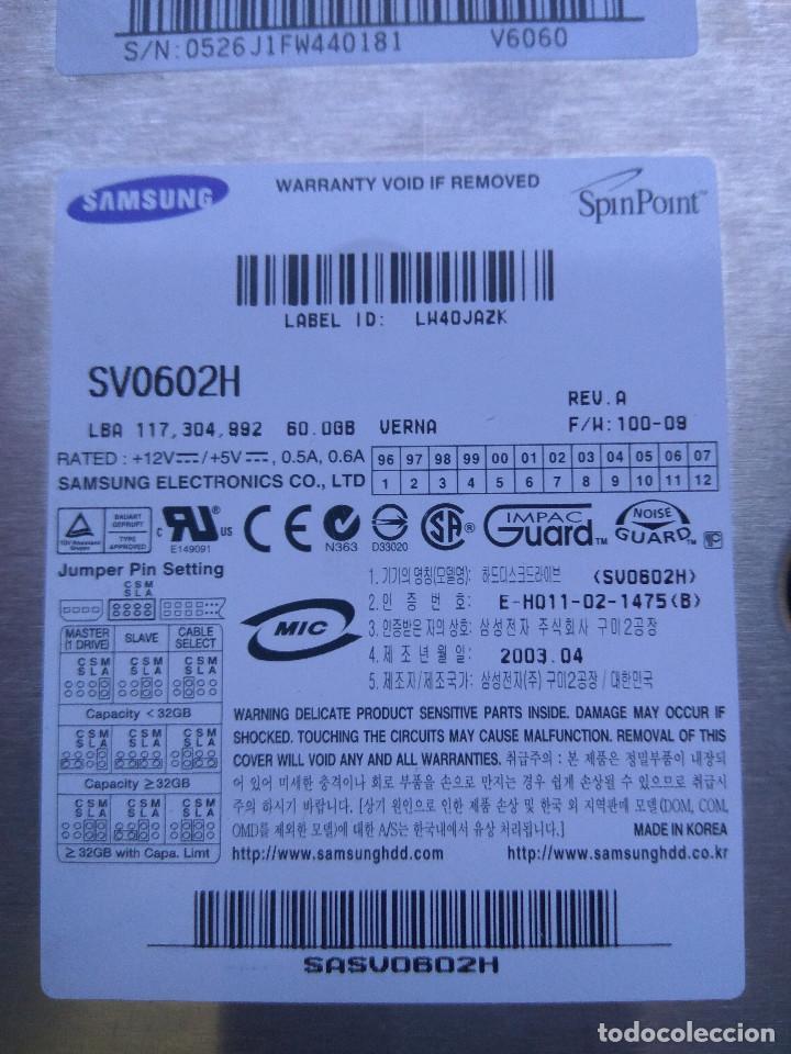 Radios antiguas: DISCO DURO SAMSUNG 60GB IDE SV0602H - Foto 2 - 195275728